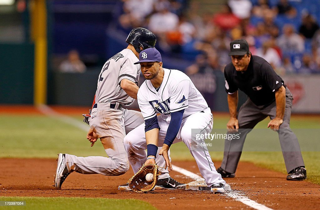 Infielder <a gi-track='captionPersonalityLinkClicked' href=/galleries/search?phrase=James+Loney&family=editorial&specificpeople=636293 ng-click='$event.stopPropagation()'>James Loney</a> #21 of the Tampa Bay Rays takes the throw at first as Jacoby Ellsbury #2 of the Boston Red Sox gets back safely during the game at Tropicana Field on June 12, 2013 in St. Petersburg, Florida.