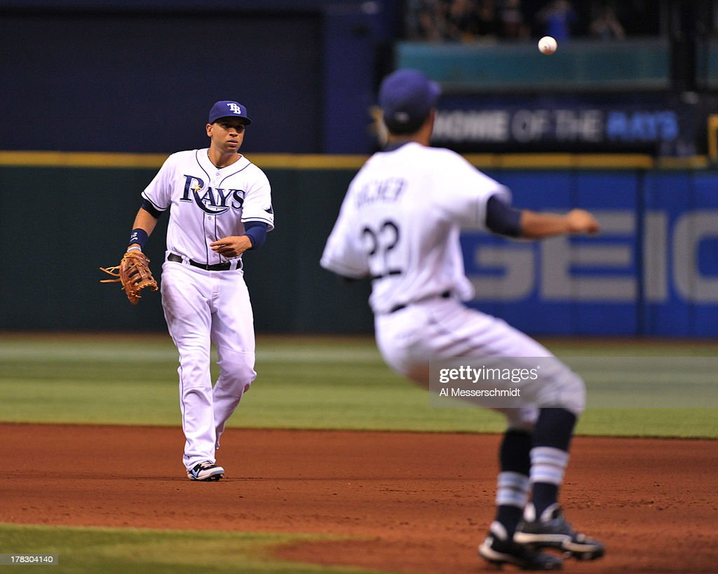 Infielder <a gi-track='captionPersonalityLinkClicked' href=/galleries/search?phrase=James+Loney&family=editorial&specificpeople=636293 ng-click='$event.stopPropagation()'>James Loney</a> #21 of the Tampa Bay Rays tosses to pitcher Chris Archer #22 for an out at 1st base against the Los Angeles Angels of Anaheim of Anaheim August 28, 2013 at Tropicana Field in St. Petersburg, Florida. The Rays won 4 - 1.