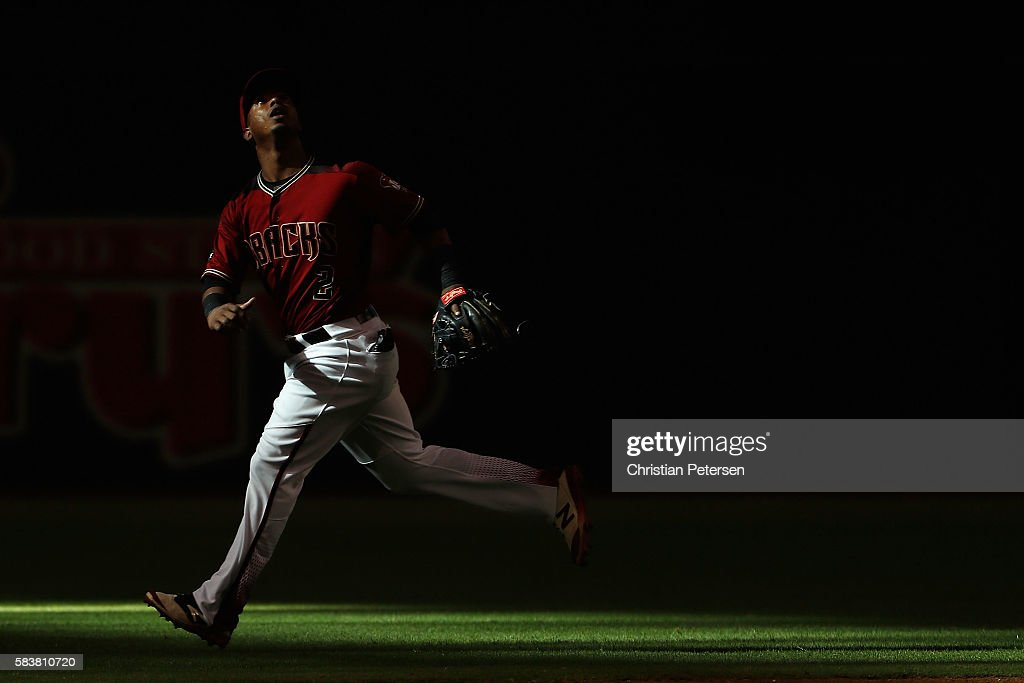 Infielder Jean Segura of the Arizona Diamondbacks in action during the MLB game against the San Francisco Giants at Chase Field on July 3 2016 in...
