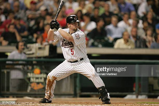 Infielder Jeff Bagwell of the Houston Astros waits for a Philadelphia Phillies pitch during the game at Minute Maid Park on August 23 2004 in Houston...