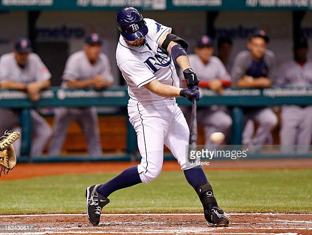 Infielder Jeff Keppinger of the Tampa Bay Rays bats against the Boston Red Sox during the game at Tropicana Field on September 20 2012 in St...