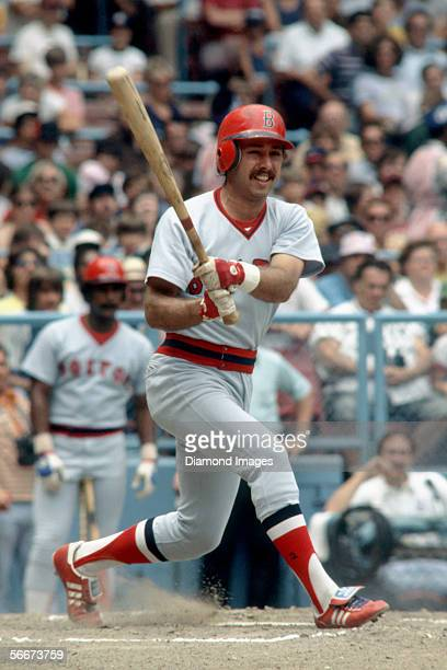 Infielder Jerry Remy of the Boston Red Sox at bat during a game in May 1978 against the Cleveland Indians at Municipal Stadium in Cleveland Ohio