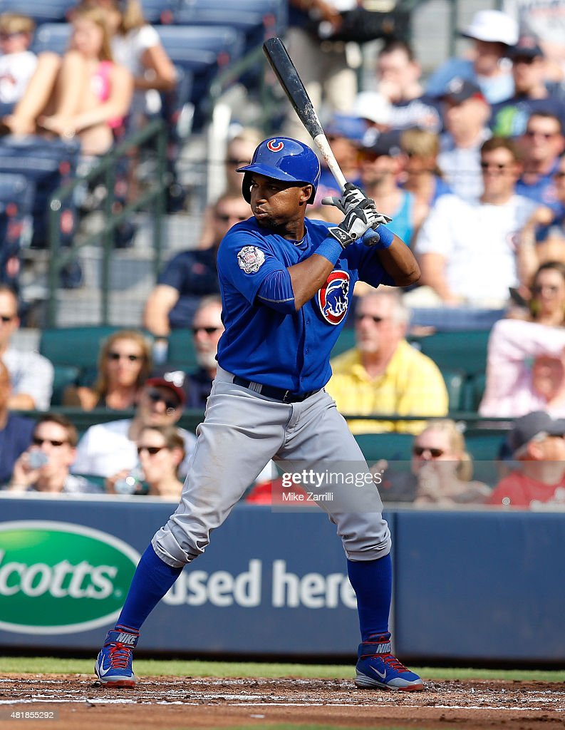 Infielder Jonathan Herrera of the Chicago Cubs waits for a pitch during the game against the Atlanta Braves at Turner Field on July 19 2015 in...