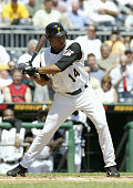 Infielder Jose Castillo of the Pittsburgh Pirates swings at a Houston Astros pitch during the MLB game at PNC Park on April 29 2004 in Pittsburgh...