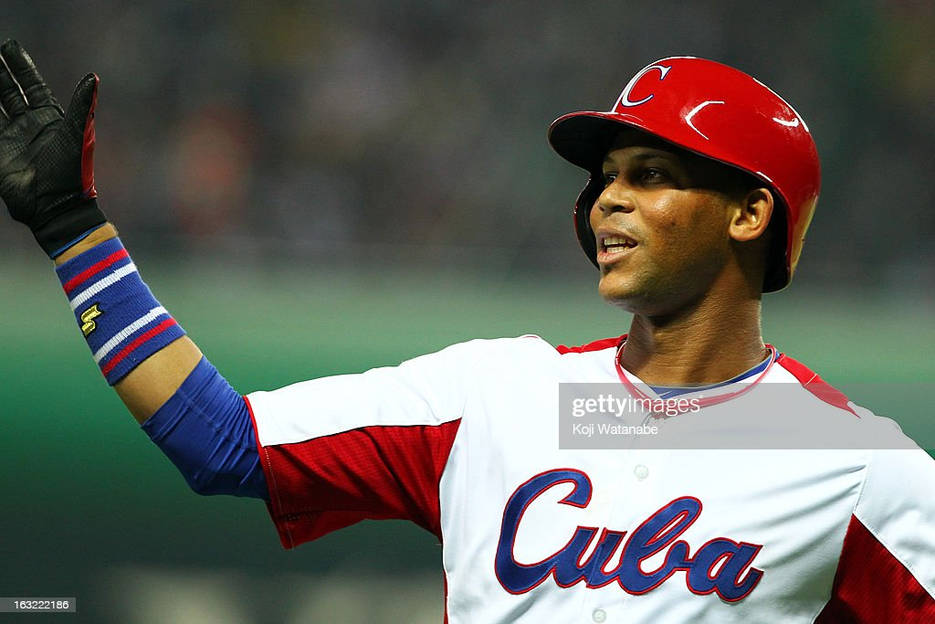 Infielder Jose Fernandez #8 of Cuba celebrates after he hit a double in the bottom half of the sixth inningduring the World Baseball Classic First Round Group A game between Japan and Cuba at Fukuoka Yahoo! Japan Dome on March 6, 2013 in Fukuoka, Japan.