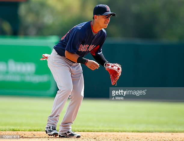 Infielder Jose Iglesias of the Boston Red Sox plays shortstop against the Baltimore Orioles during a Grapefruit League Spring Training Game at Ed...