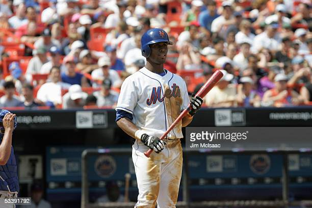 Infielder Jose Reyes of the New York Mets prepares to bat against the Chicago Cubs during the game at Shea Stadium on August 6 2005 in Flushing New...