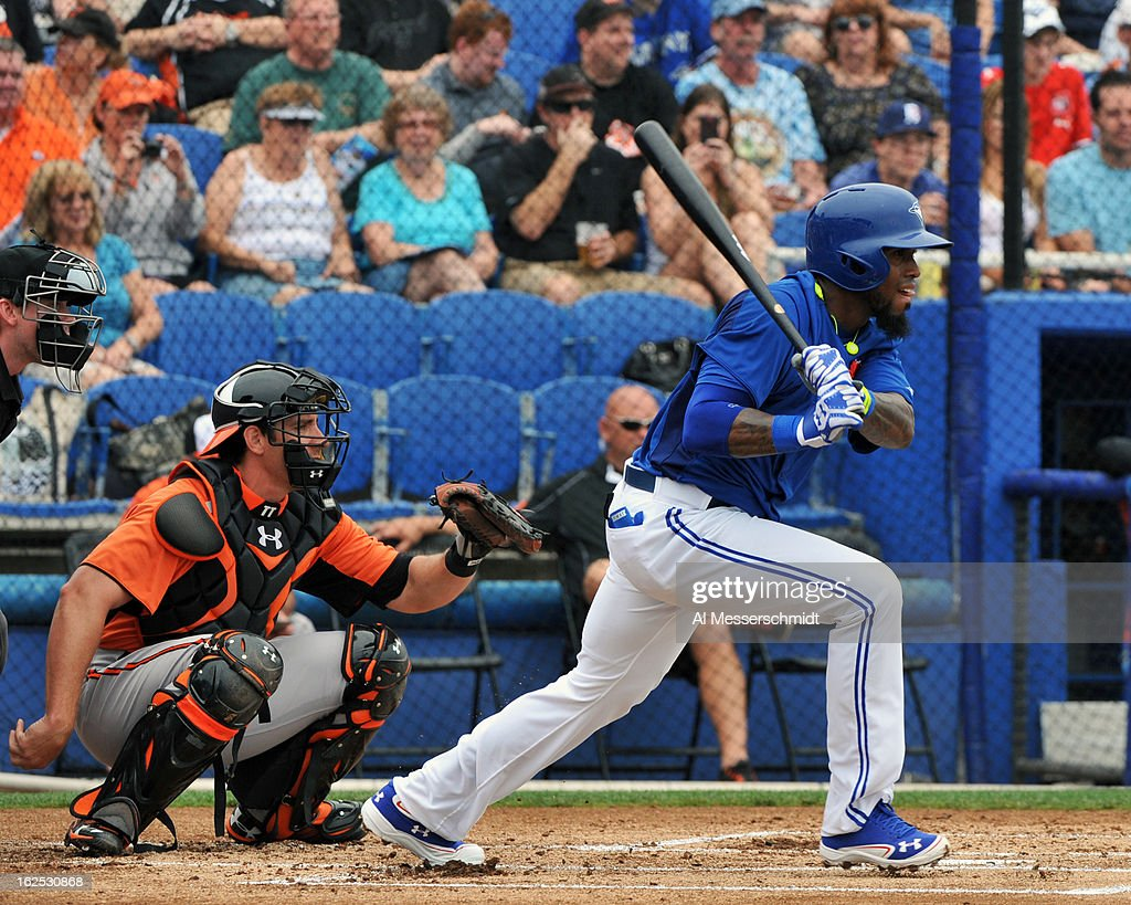 Infielder Jose Reyes #7 of the Toronto Blue Jays bats against the Baltimore Orioles February 24, 2013 at the Florida Auto Exchange Stadium in Dunedin, Florida.