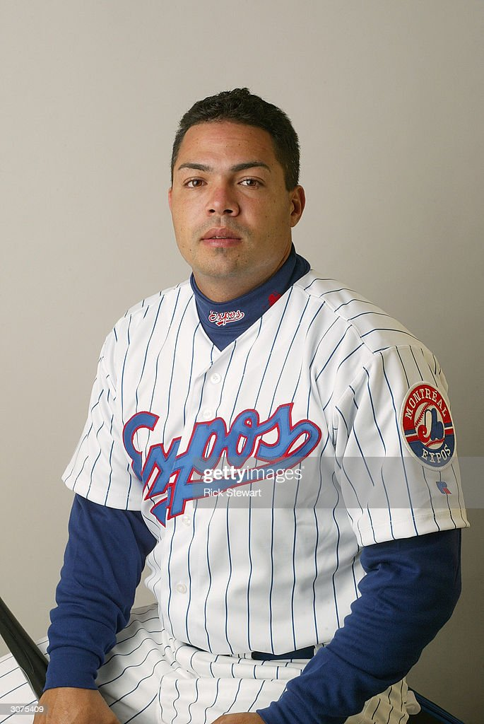 Infielder Jose Vidro #3 of the Montreal Expos poses for a photo during Media Day at Space Coast Stadium on February 28, 2004 in Viera, Florida.