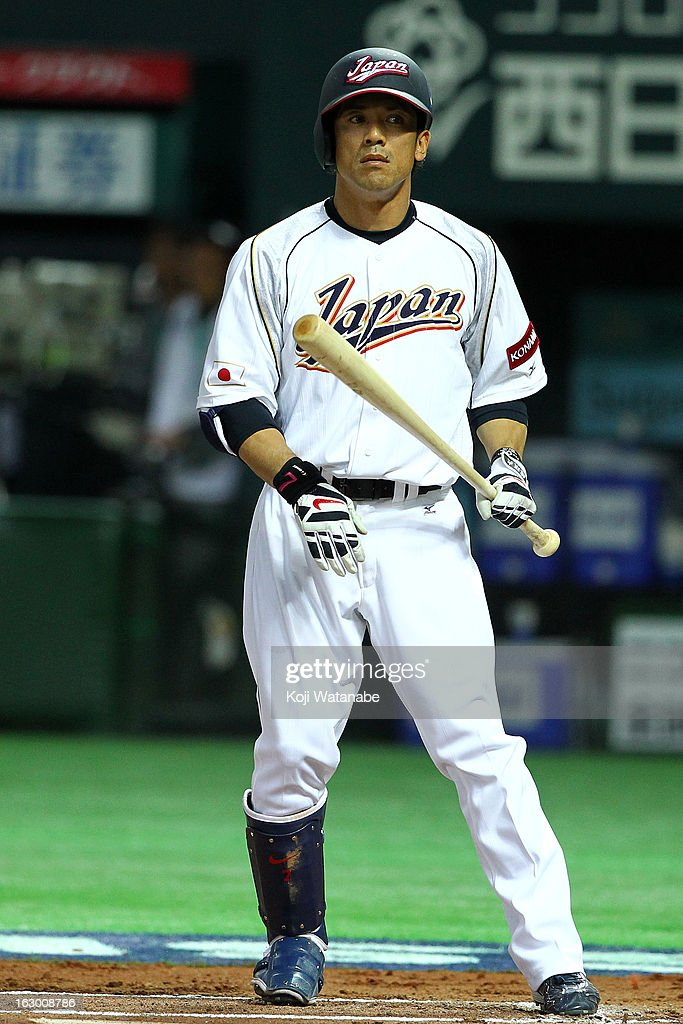 Infielder <a gi-track='captionPersonalityLinkClicked' href=/galleries/search?phrase=Kazuo+Matsui&family=editorial&specificpeople=202045 ng-click='$event.stopPropagation()'>Kazuo Matsui</a> #7 of Japan at bat during the World Baseball Classic First Round Group A game between Japan and China at Fukuoka Yahoo! Japan Dome on March 3, 2013 in Fukuoka, Japan.