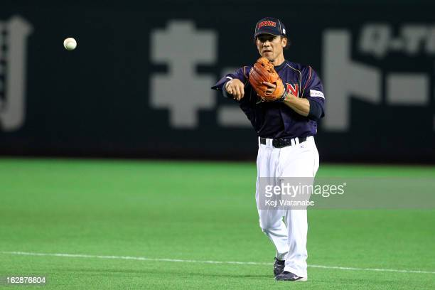 Infielder Kazuo Matsui of Japan in action during the friendly game between Yomiuri Giants and Japan at Fukuoka Yafuoku Dome on February 28 2013 in...