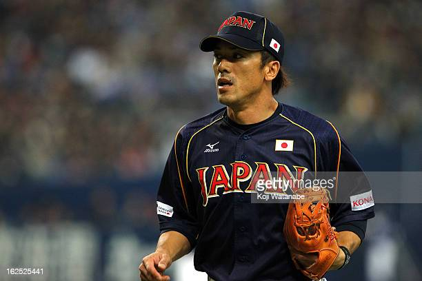 Infielder Kazuo Matsui of Japan in action during the international friendly game between Australia and Japan at Kyocera Dome Osaka on February 24...