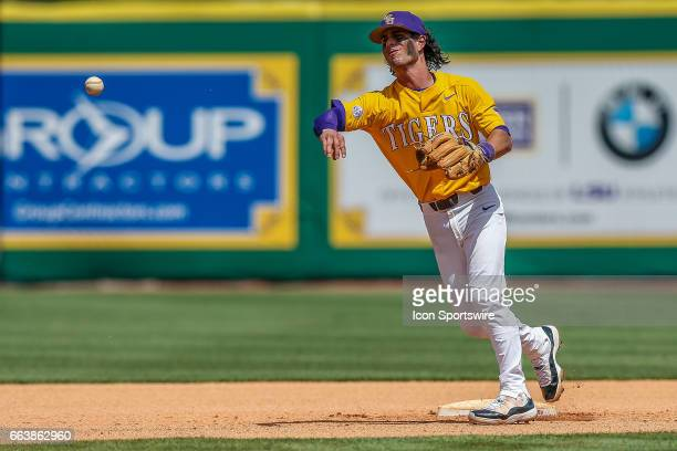 LSU infielder Kramer Robertson warming up during the game between Texas AM and LSU on April 01 2017 at Alex Box Stadium in Baton Rouge LA