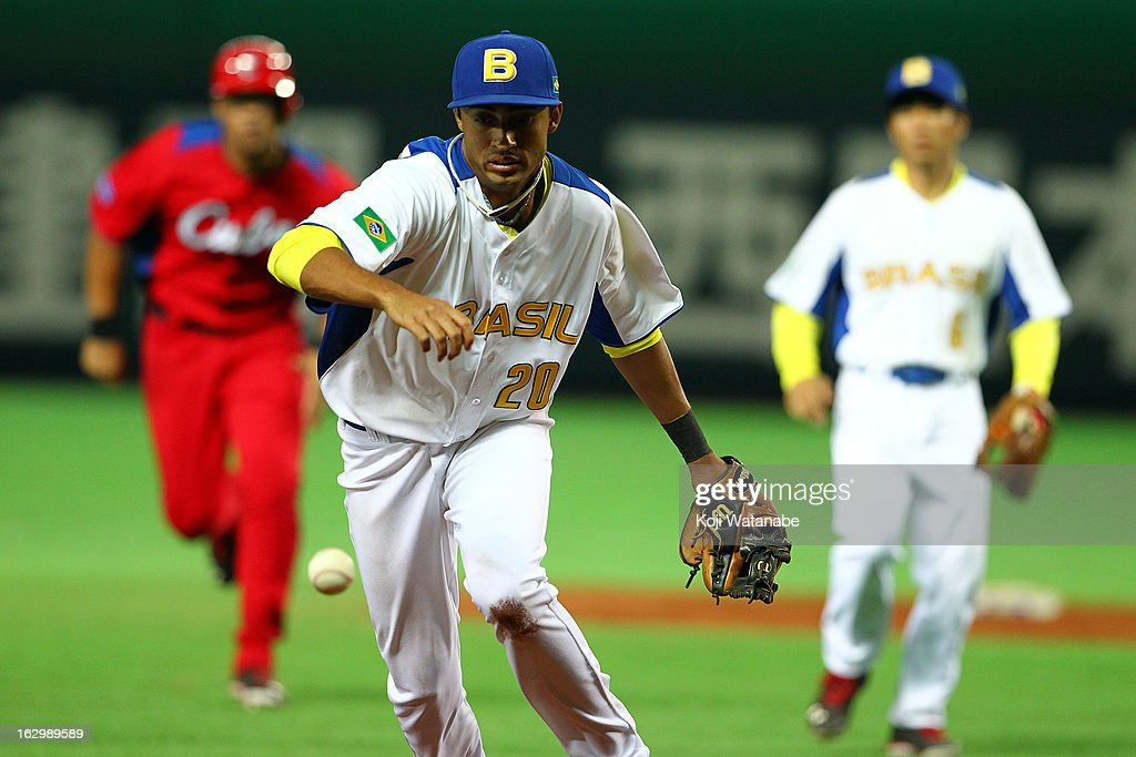 Infielder Leonardo Reginatto #20 of Brazil in action during the World Baseball Classic First Round Group A game between Brazil and Cuba at Fukuoka Yahoo! Japan Dome on March 3, 2013 in Fukuoka, Japan.