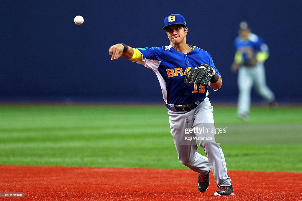 Infielder Lucas Rojo #15 in action during the friendly game between Orix Buffaloes and Brazil at Kyocera Dome Osaka on February 26, 2013 in Osaka, Japan.