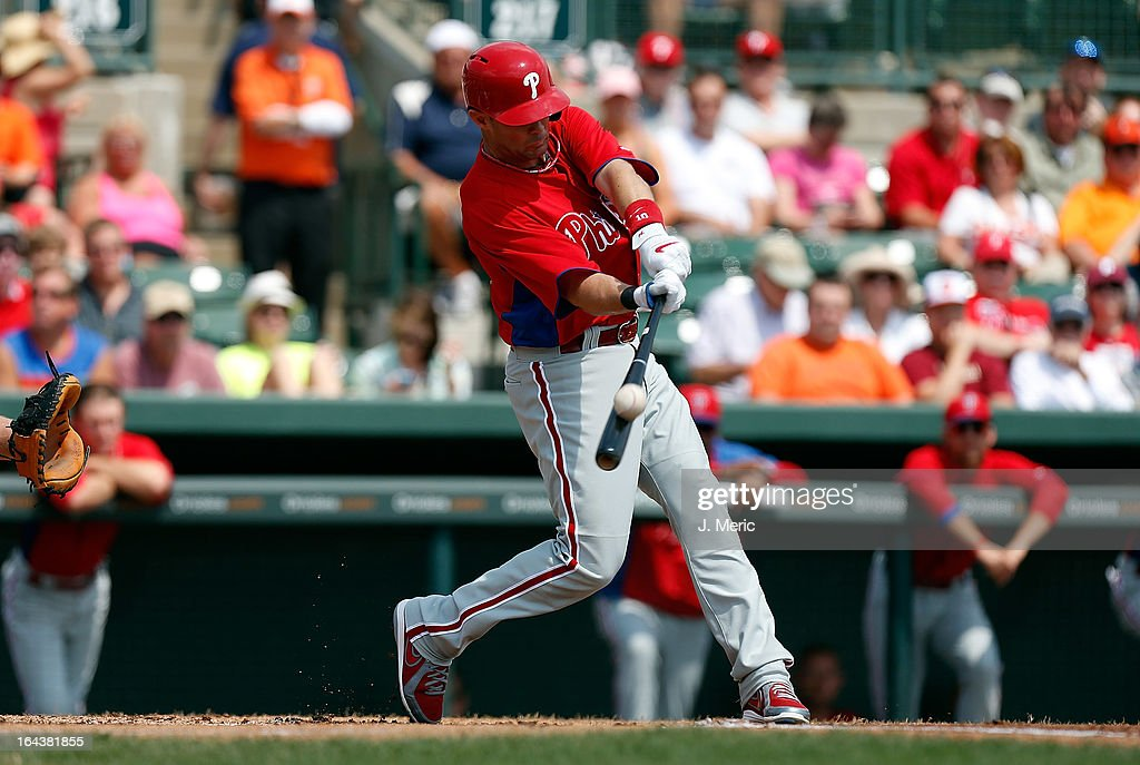 Infielder Michael Young #10 of the Philadelphia Phillies fouls off a pitch against the Baltimore Orioles during a Grapefruit League Spring Training Game at Ed Smith Stadium on March 23, 2013 in Sarasota, Florida.