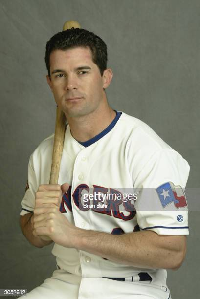 Infielder Michael Young of the Texas Rangers poses for a picture during Texas Rangers Media Day at Surprise Stadium on February 26 2004 in Surprise...