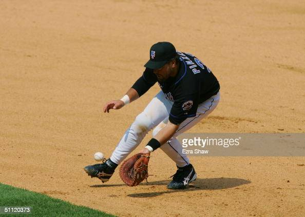 Infielder Mike Piazza of the New York Mets catches the ball against the Philadelphia Phillies during the game on July 17 2004 at Shea Stadium in...