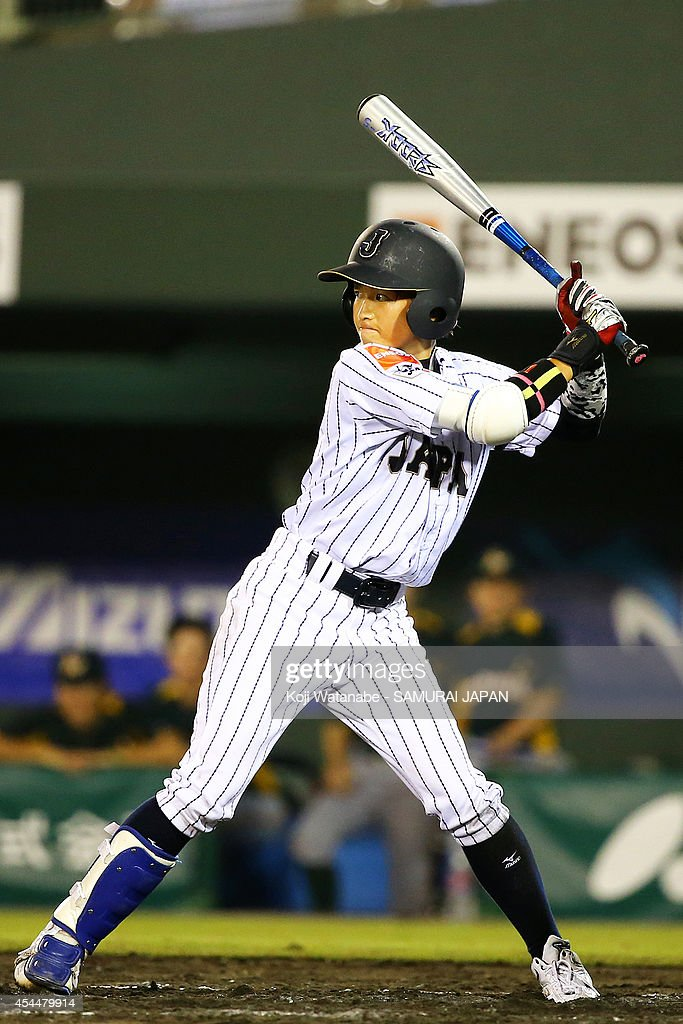 Infielder <a gi-track='captionPersonalityLinkClicked' href=/galleries/search?phrase=Miki+Atsugase&family=editorial&specificpeople=6915235 ng-click='$event.stopPropagation()'>Miki Atsugase</a> #1 of Japan bats during the IBAF Women's Baseball World Cup Group A game between Japan and Australia at Sun Marine Stadium on September 1, 2014 in Miyazaki, Japan.
