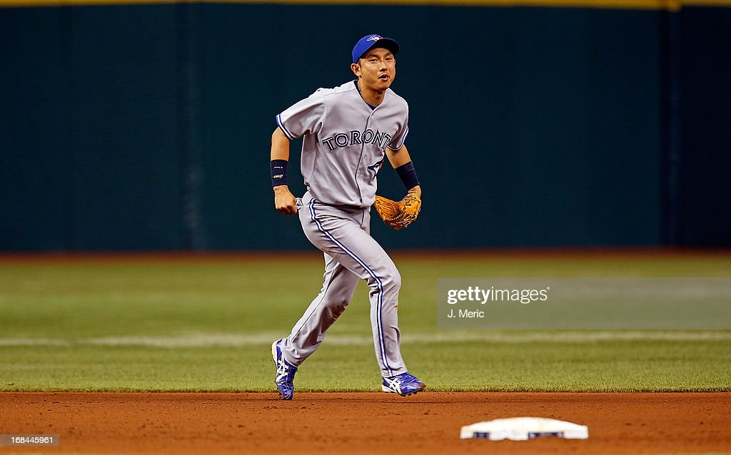 Infielder Munenori Kawasaki #66 of the Toronto Blue Jays plays shortstop against the Tampa Bay Rays during the game at Tropicana Field on May 9, 2013 in St. Petersburg, Florida.