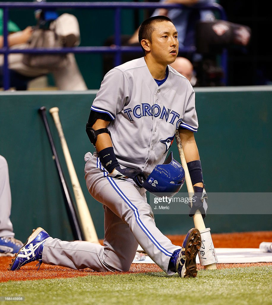 Infielder Munenori Kawasaki #66 of the Toronto Blue Jays stretches before he bats against the Tampa Bay Rays during the game at Tropicana Field on May 9, 2013 in St. Petersburg, Florida.
