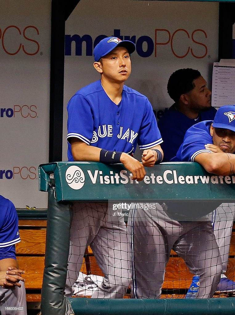 Infielder Munenori Kawasaki #66 of the Toronto Blue Jays watches his team from the dugout against the Tampa Bay Rays during the game at Tropicana Field on May 8, 2013 in St. Petersburg, Florida.