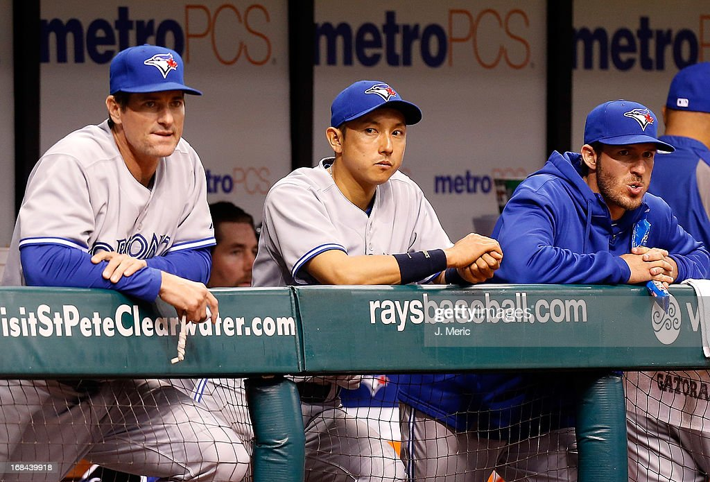Infielder <a gi-track='captionPersonalityLinkClicked' href=/galleries/search?phrase=Munenori+Kawasaki&family=editorial&specificpeople=690355 ng-click='$event.stopPropagation()'>Munenori Kawasaki</a> #66 of the Toronto Blue Jays watches his team from the bench against the Tampa Bay Rays during the game at Tropicana Field on May 9, 2013 in St. Petersburg, Florida.