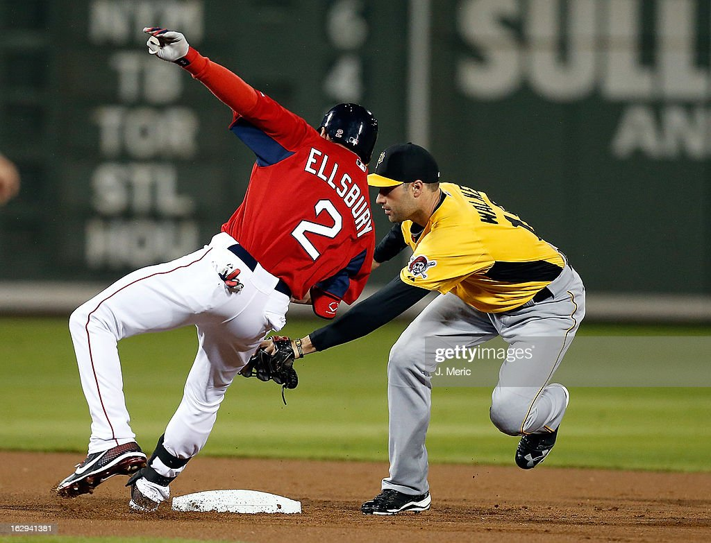 Infielder Neil Walker #18 of the Pittsburgh Pirates applies the tag to outfielder Jacoby Ellsbury #2 of the Boston Red Sox during a Grapefruit League Spring Training Game at JetBlue Park on March 1, 2013 in Fort Myers, Florida.