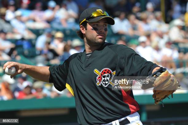 Infielder Neil Walker of the Pittsburgh Pirates sets for play against the Houston Astros March 8 2009 at McKechnie Field in Bradenton Florida