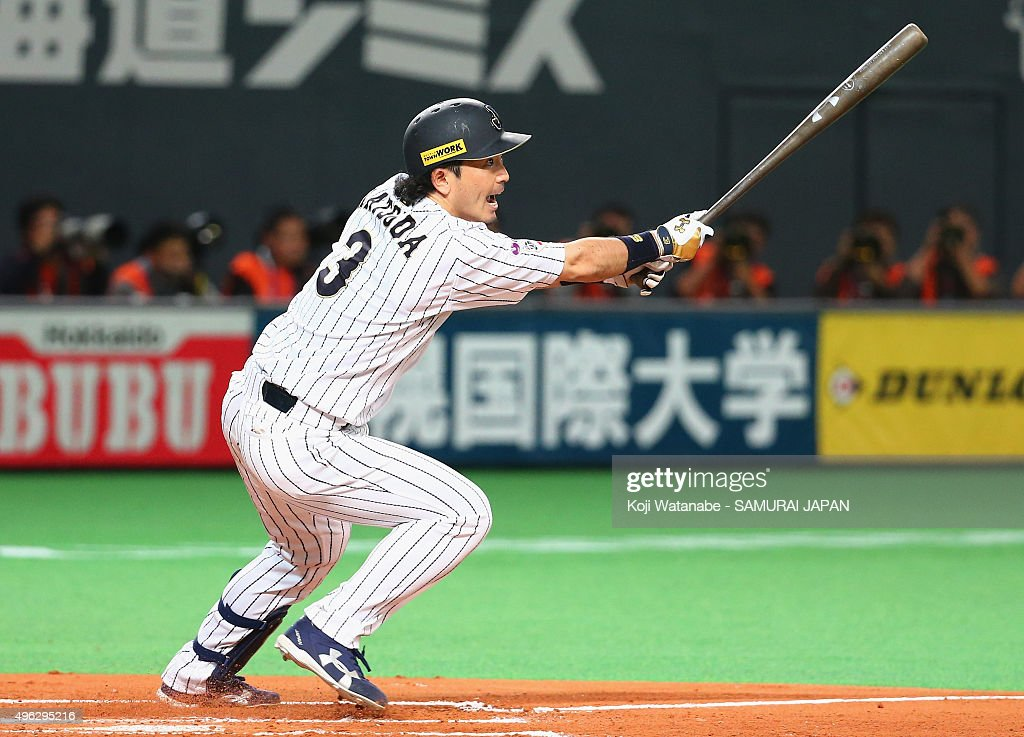 Infielder Nobuhiro Matsuda of Japan htis a single in the bottom of the second inning during the WBSC Premier 12 match between Japan and South Korea...