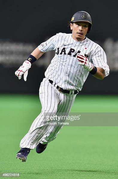 Infielder Nobuhiro Matsuda of Japan runs to the third base in the bottom of second inning during the WBSC Premier 12 match between Japan and South...