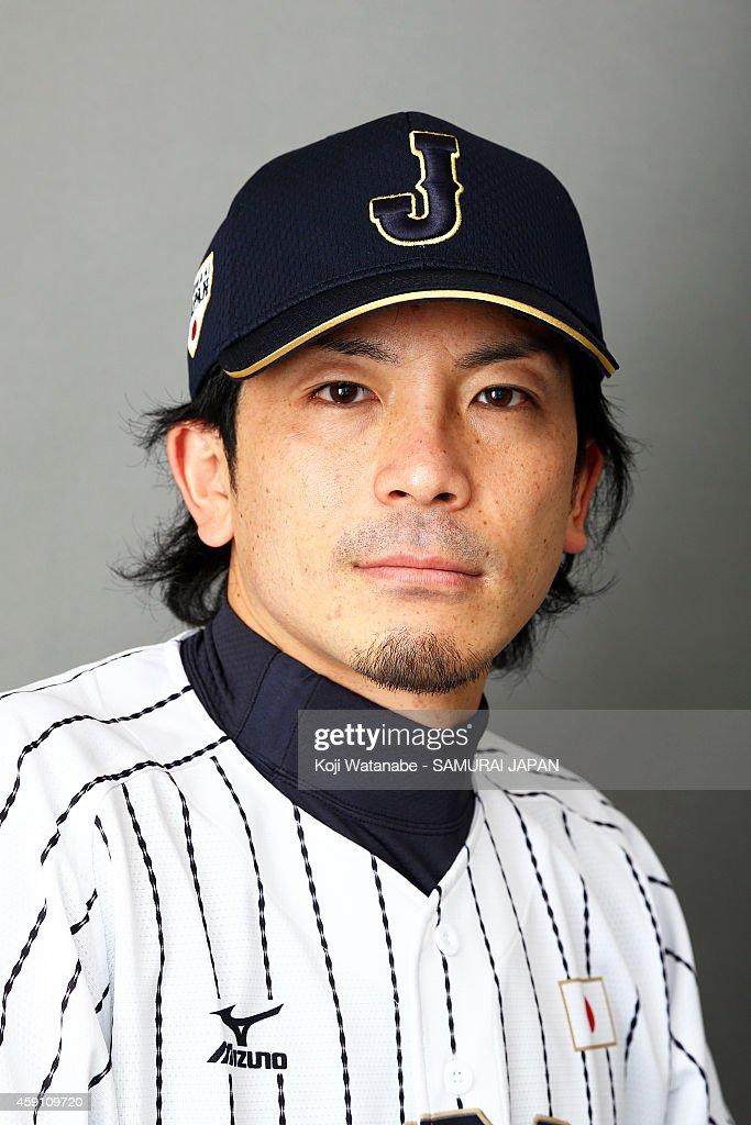 Infielder Nobuhiro Matsuda of Samurai Japan poses for photographs during the Samurai Japan Portrait Session on November 8 2014 in Fukuoka Japan