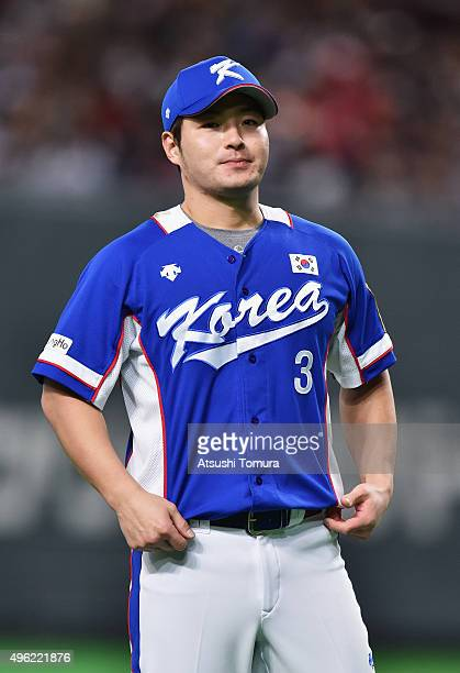 Infielder Park Byungho of South Korea lines up prior to the WBSC Premier 12 match between Japan and South Korea at the Sapporo Dome on November 8...