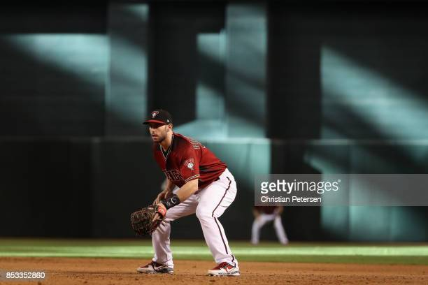Infielder Paul Goldschmidt of the Arizona Diamondbacks in action during the MLB game against the Miami Marlins at Chase Field on September 24 2017 in...
