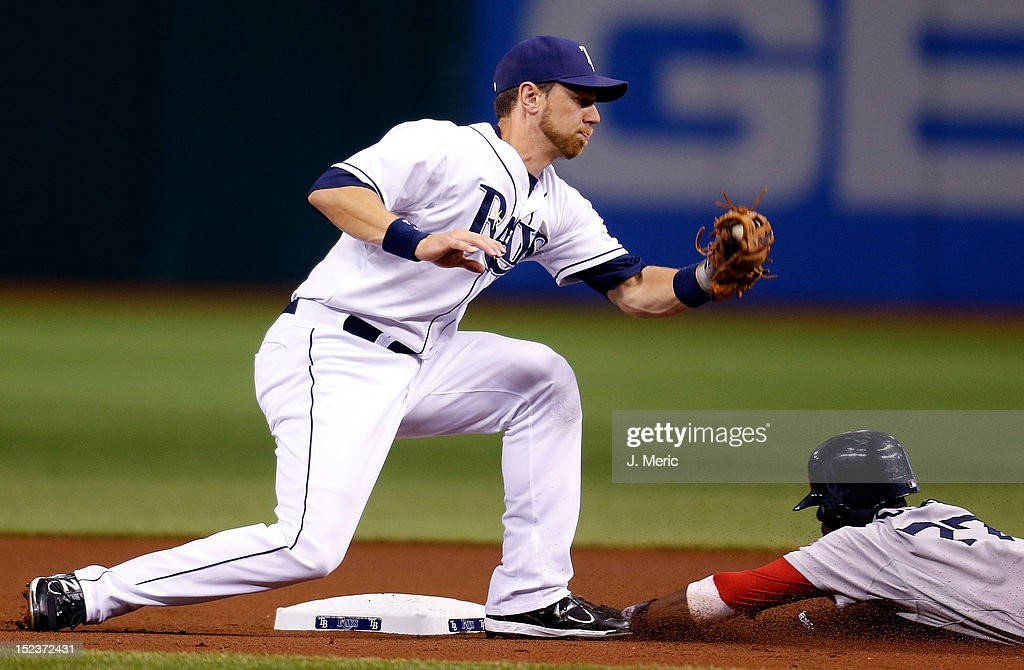 Infielder <a gi-track='captionPersonalityLinkClicked' href=/galleries/search?phrase=Pedro+Ciriaco&family=editorial&specificpeople=5718591 ng-click='$event.stopPropagation()'>Pedro Ciriaco</a> #77 of the Boston Red Sox steals second base as infielder <a gi-track='captionPersonalityLinkClicked' href=/galleries/search?phrase=Ben+Zobrist&family=editorial&specificpeople=2120037 ng-click='$event.stopPropagation()'>Ben Zobrist</a> #18 of the Tampa Bay Rays is late with the tag during the game at Tropicana Field on September 19, 2012 in St. Petersburg, Florida.