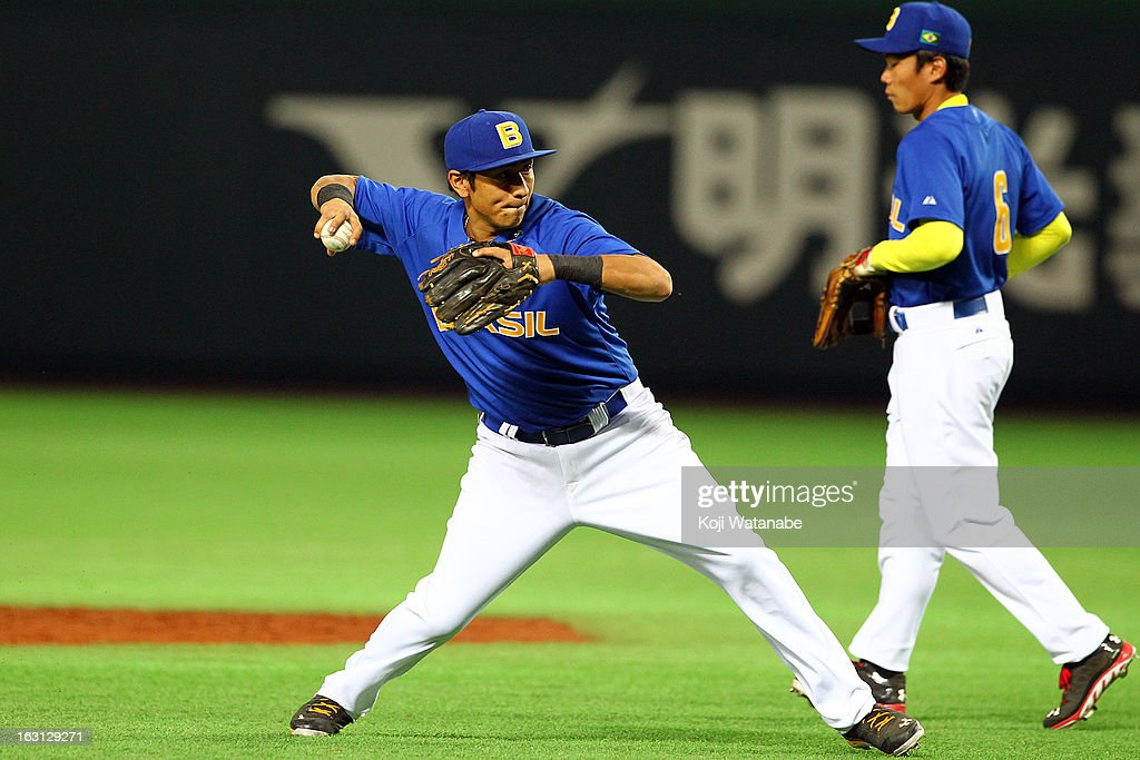 Infielder Pedro Okuda #44 of Brazil in action during the World Baseball Classic First Round Group A game between China and Brazil at Fukuoka Yahoo! Japan Dome on March 5, 2013 in Fukuoka, Japan.