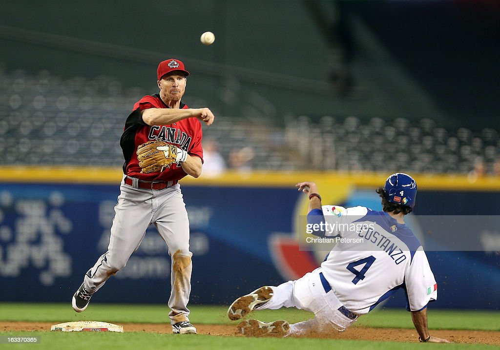 Infielder Pete Orr of Canada throws over the sliding Mike Costanzo of Italy to complete a double play during the fifth inning of the World Baseball...