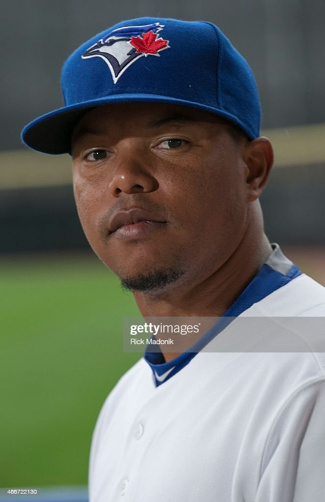 Infielder Ramon Santiago. The Jays hold Photo Day at Florida Auto Exchange Stadium.