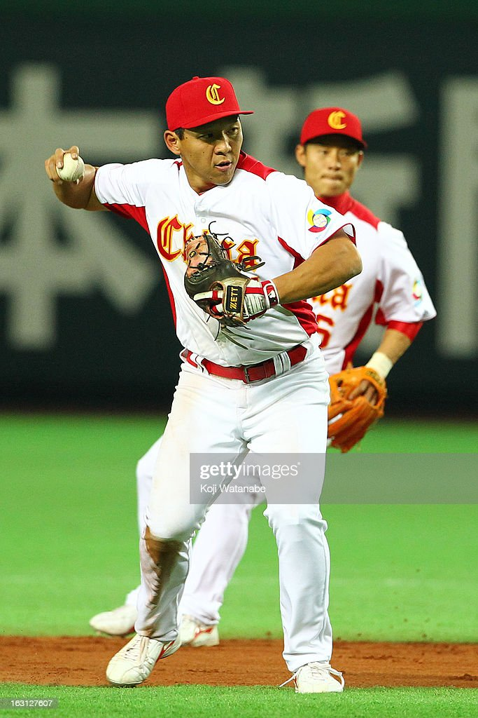 Infielder Ray Chang #21 of China in action during the World Baseball Classic First Round Group A game between China and Brazil at Fukuoka Yahoo! Japan Dome on March 5, 2013 in Fukuoka, Japan.