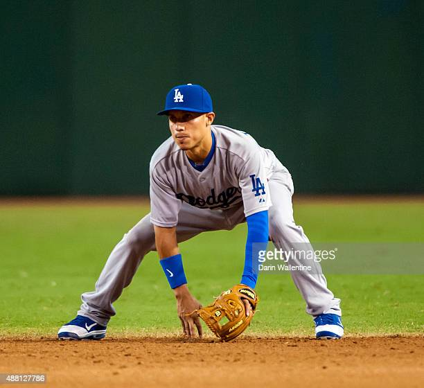 Infielder Ronald Torreyes of the Los Angeles Dodgers awaits the play against the Arizona Diamondbacks during a MLB game on September 13 2015 at Chase...