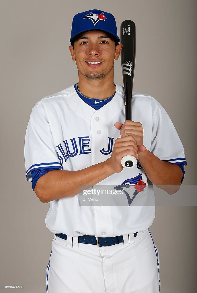 Infielder Ryan Goins #2 of the Toronto Blue Jays poses for a photo during photo day at Florida Auto Exchange Stadium on February 18, 2013 in Dunedin, Florida.