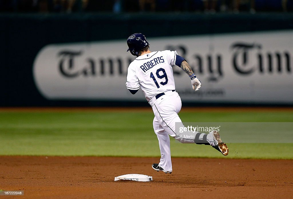 Infielder Ryan Roberts #19 of the Tampa Bay Rays rounds the bases after his first inning home run against the New York Yankees at Tropicana Field on April 22, 2013 in St. Petersburg, Florida.