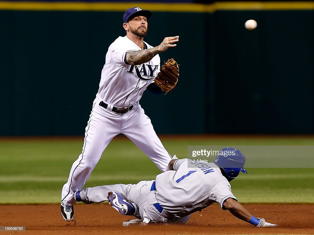 Infielder Ryan Roberts #19 of the Tampa Bay Rays turns a double play as outfielder Jarrod Dyson #1 of the Kansas City Royals tries to break it up during the game at Tropicana Field on August 20, 2012 in St. Petersburg, Florida.