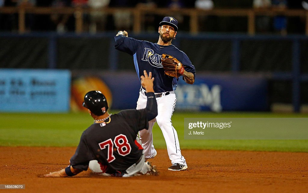 Infielder Ryan Roberts #19 of the Tampa Bay Rays turns a double play as designated hitter <a gi-track='captionPersonalityLinkClicked' href=/galleries/search?phrase=Oswaldo+Arcia&family=editorial&specificpeople=8948415 ng-click='$event.stopPropagation()'>Oswaldo Arcia</a> #78 of the Minnesota Twins is out at second during a Grapefruit League spring training game at the Charlotte Sports Complex on March 11, 2013 in Port Charlotte, Florida.