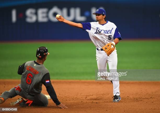 Infielder Scott Burcham of Israel throws to the first base to make a double play against the Netherlands during the 8th inning of their first round...