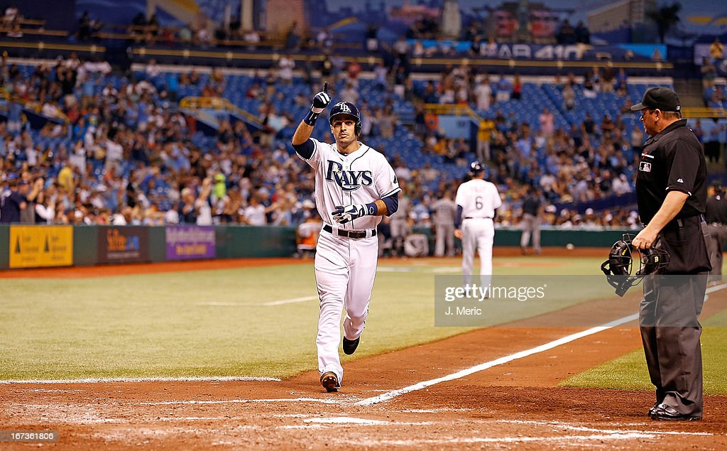 Infielder <a gi-track='captionPersonalityLinkClicked' href=/galleries/search?phrase=Sean+Rodriguez&family=editorial&specificpeople=4171805 ng-click='$event.stopPropagation()'>Sean Rodriguez</a> #1 of the Tampa Bay Rays celebrates his sixth inning home run against the New York Yankees during the game at Tropicana Field on April 24, 2013 in St. Petersburg, Florida.