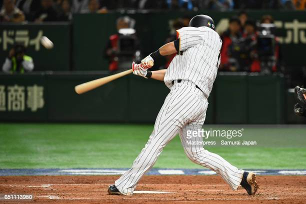 Infielder Sho Nakata of Japan hits a two run homer in the bottom of the third inning during the World Baseball Classic Pool B Game Six between China...