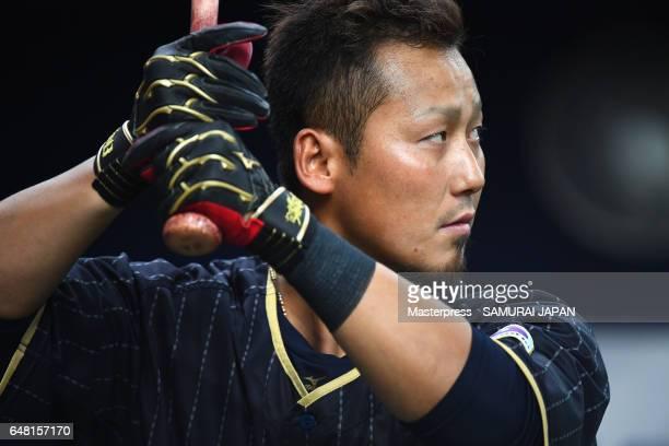 Infielder Sho Nakata of Japan warms up prior to the World Baseball Classic WarmUp Game between Japan and Orix Buffaloes at Kyocera Dome Osaka on...