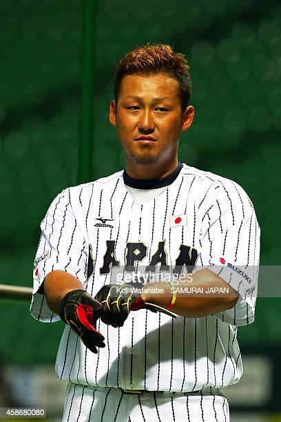 Infielder Sho Nakata of Samurai Japan in action during a training session at Fukuoka Yahuoku Dome on November 9 2014 in Fukuoka Japan