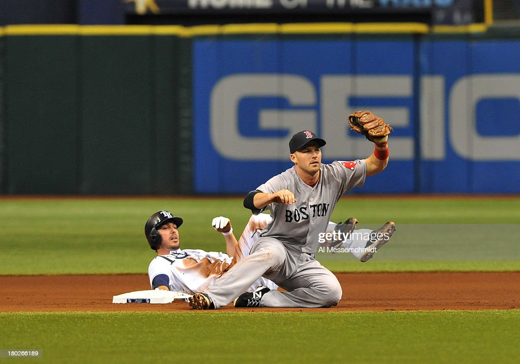 Infielder <a gi-track='captionPersonalityLinkClicked' href=/galleries/search?phrase=Stephen+Drew&family=editorial&specificpeople=757520 ng-click='$event.stopPropagation()'>Stephen Drew</a> #7 of the Boston Red Sox tags out outfielder Matt Joyce #20 of the Tampa Bay Rays on a steal attempt in the 4th inning September 10, 2013 at Tropicana Field in St. Petersburg, Florida.